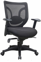 Managerial Chair with Adjustable Padded Arms, Knee-Tilt Control and Adjustable Lumbar support