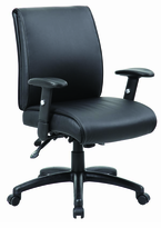 Mid back Managerial chair with adjustable padded arms, multi-function control, ratchet back height adjustment