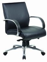 Mid back Managers chair with molded polyurethane black arms, aluminum base with knee tilt control