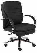 Mid-back Managers Chair with Padded Chrome Plated Arms and Chrome Base