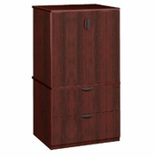 New Laminate Wood � Combo 2 Door Storage Cabinet with 2 Drawer Lateral File with Locks.