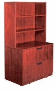 New Wood Laminate - Combo Open Hutch with 2 drawer lateral file with lock.