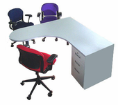 P-shaped Single Ped Desk