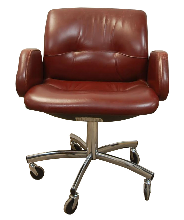 Set Of 9 Leather Steelcase 454 Chairs