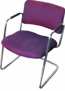 Wine Fabric Sled Base Guest Chair