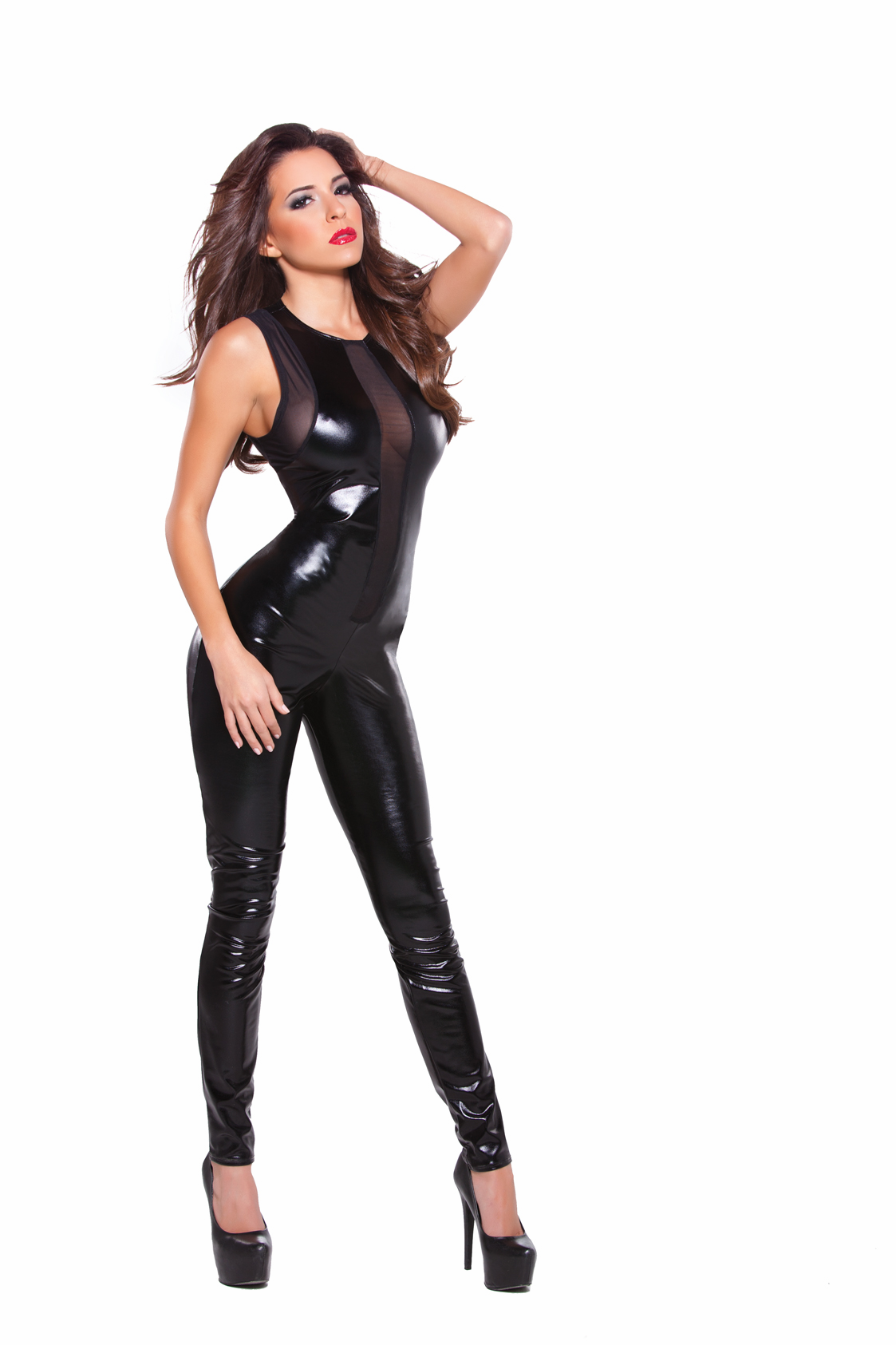 10-1152k Black Wetlook and Mesh Catsuit by Allure Lingerie