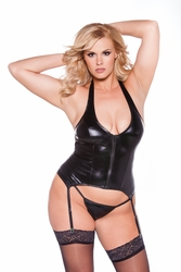 11-1042xk Plus Size Wet Look Plunging Neck Corset by Allure