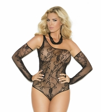 1147q Plus Size Floral Pattern Fishnet One Shoulder Teddy and Gloves by Elegant Moments