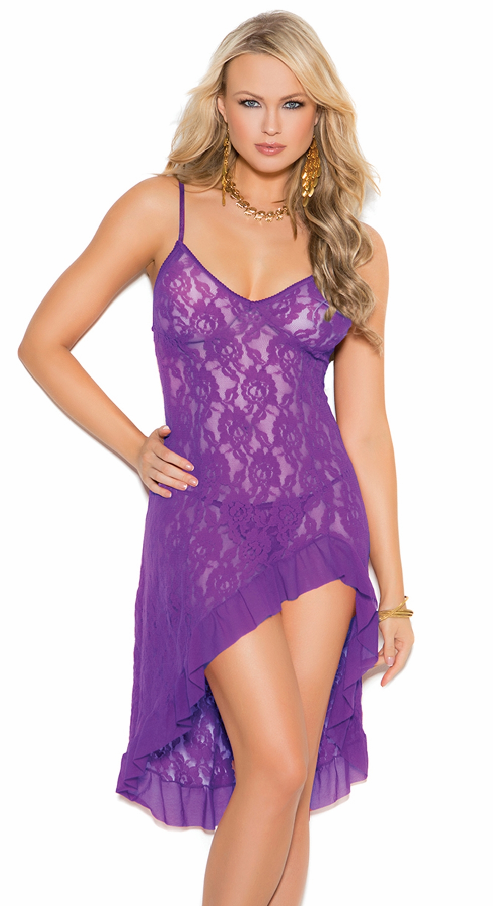 1478 Purple Stretch Lace Gown with Adustable Straps