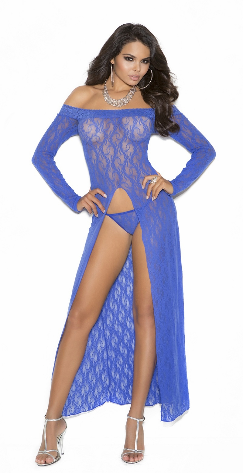 1519 Royal Blue Long Sleeve Lace Gown with Front Slit OS