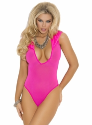 1576q Plus Size Hot Pink Hooded Teddy Romper by Elegant Moments