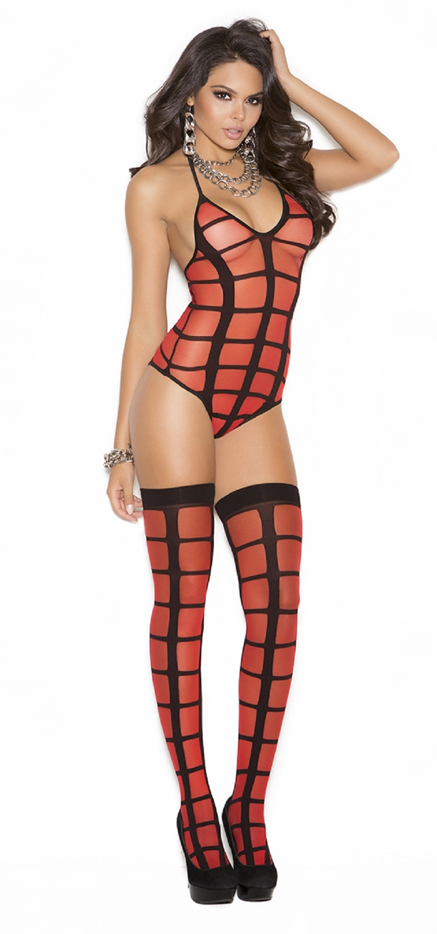 1595 Red and Black Sheer Striped Pattern Teddy and Stockings Lingerie Set OS