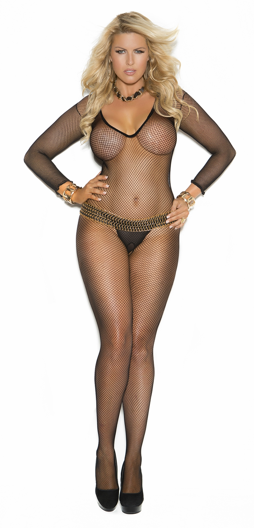 1613q Plus Size Queen Deep V Cut Fishnet Bodystocking by Elegant Moments