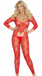 1635q Plus Size  Red Long Sleeve Footless Lace Bodystocking with Open Heart Shape and Open Crotch. by Elegant Moments