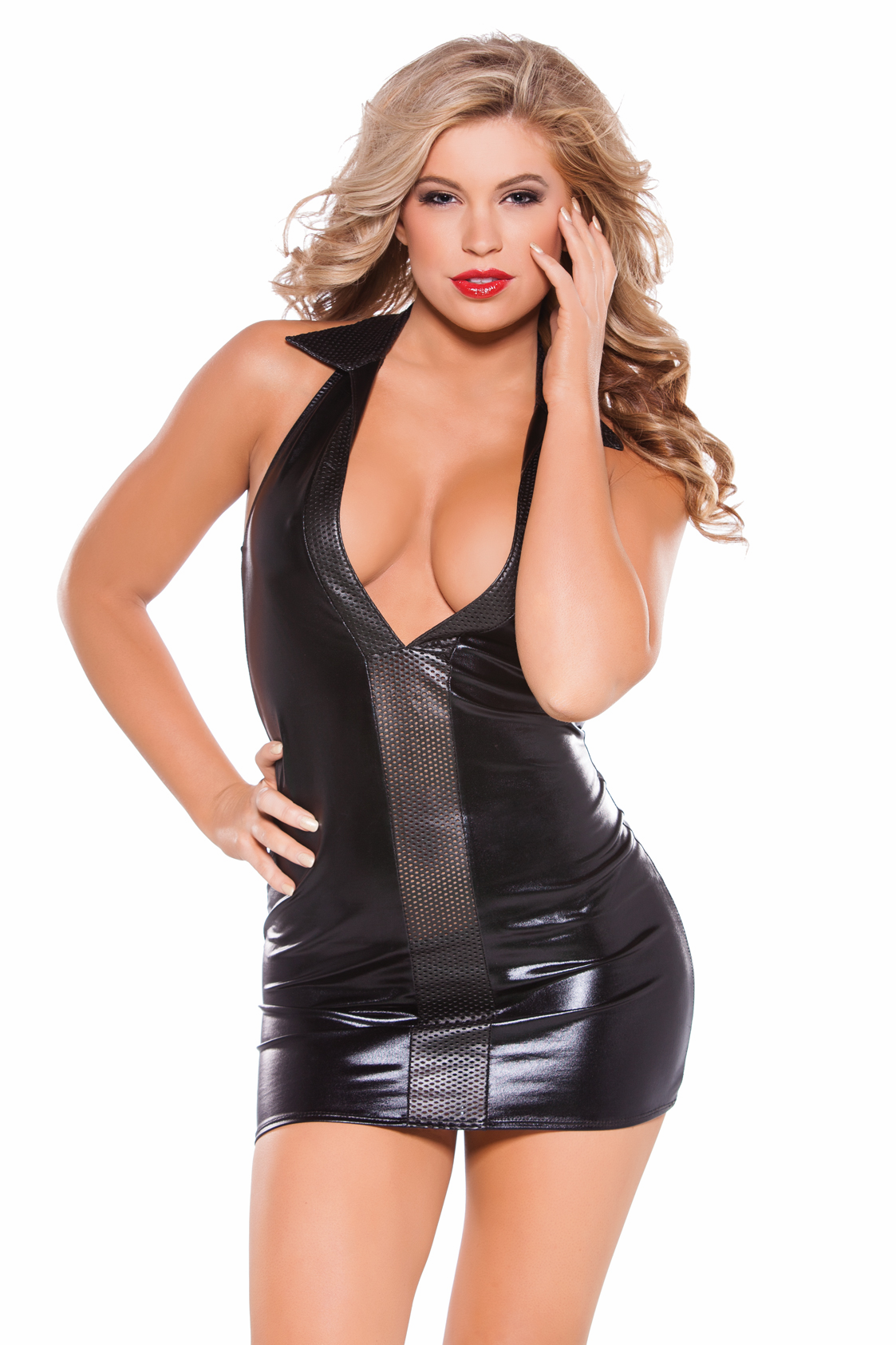17-3042k Black Wet Look and Faux Leather Dress by Allure