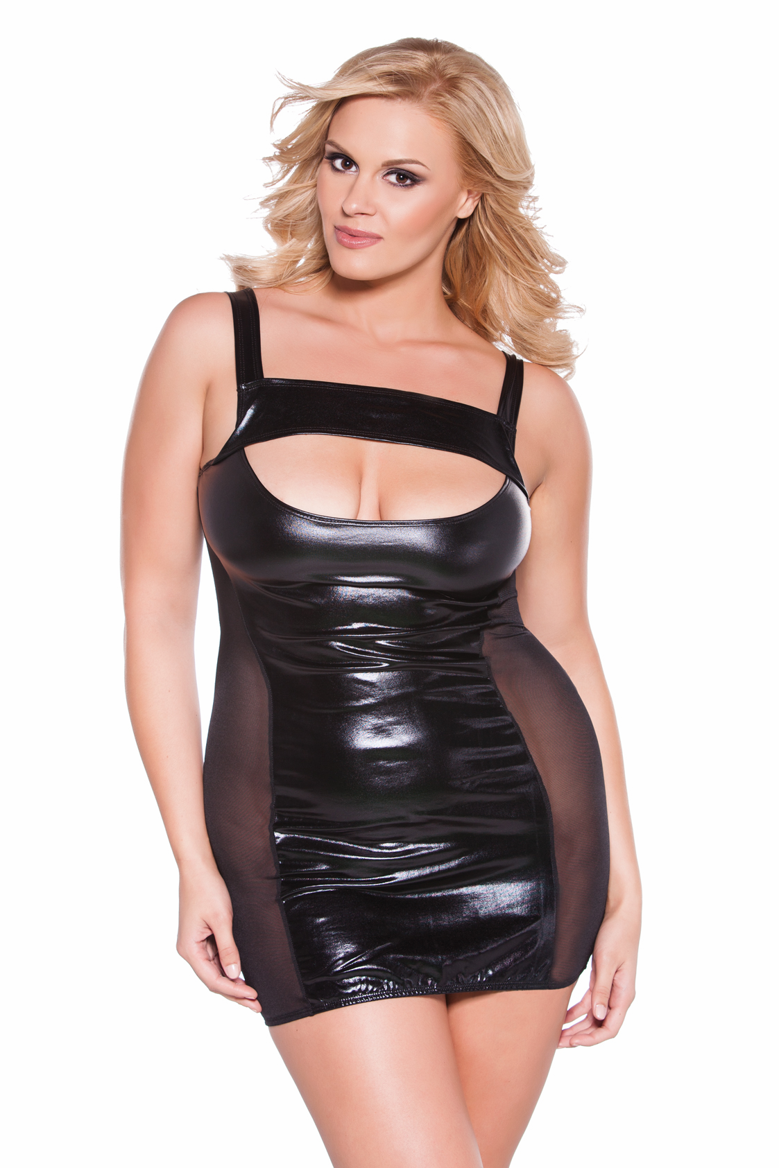 17-6602xk Plus Size Wet Look Cutout Dress by Kitten