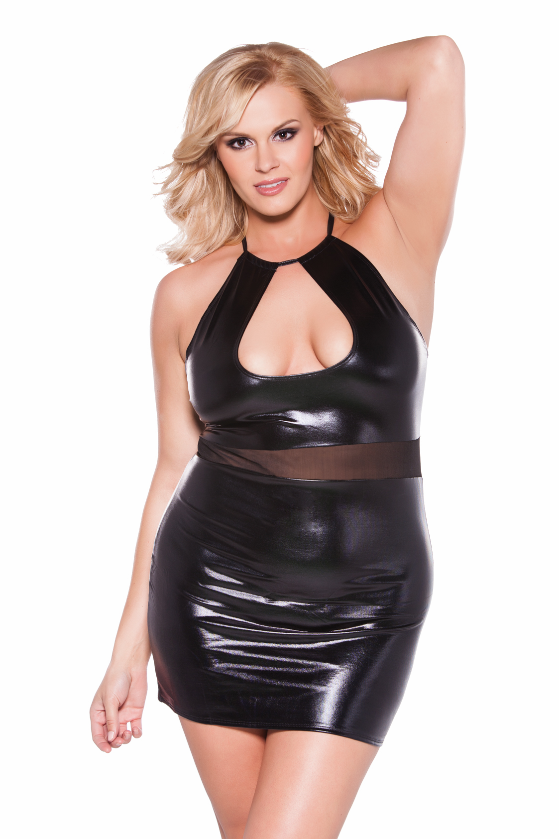 17-7602xk Plus Size Wet Look Halter Dress by Allure