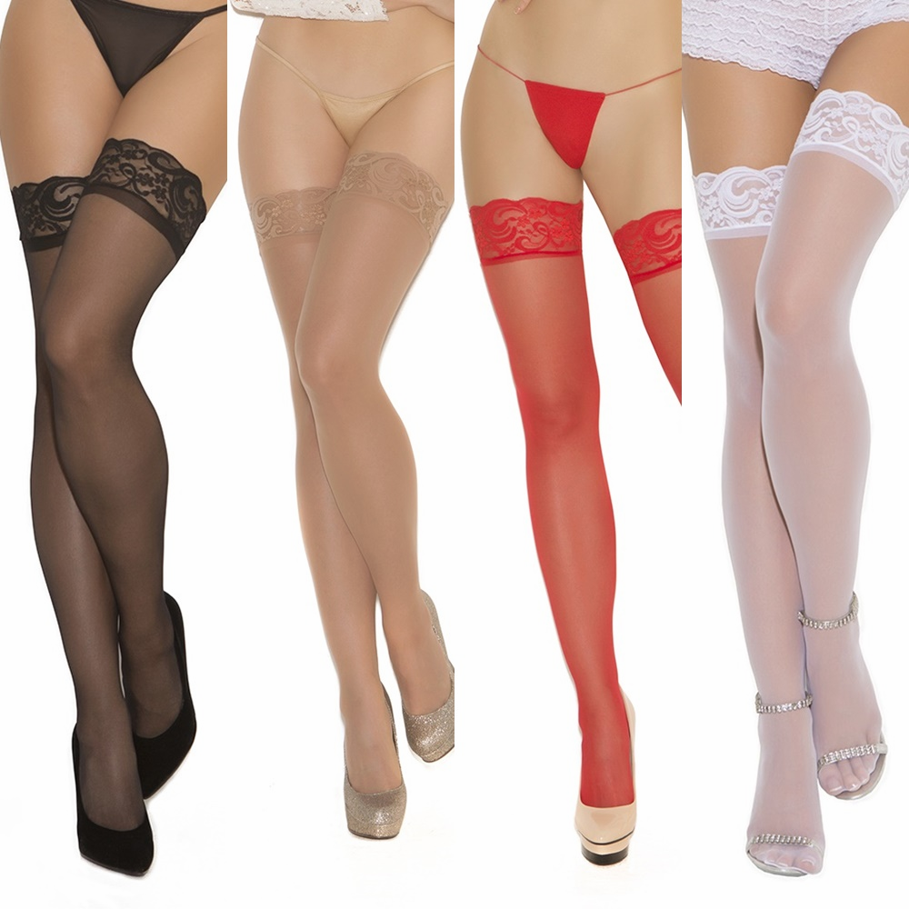 1721 Sheer Nylon Lace Top Thigh High Stocking by Elegant Moments