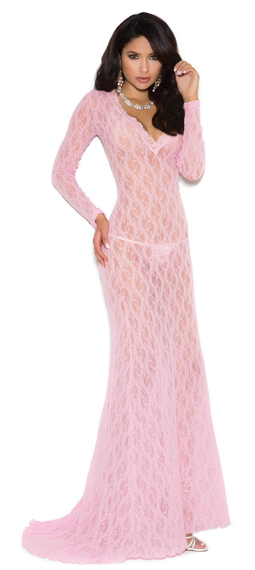 1949 Baby Pink Long Sleeve Lace Gown with Deep V Front and Train