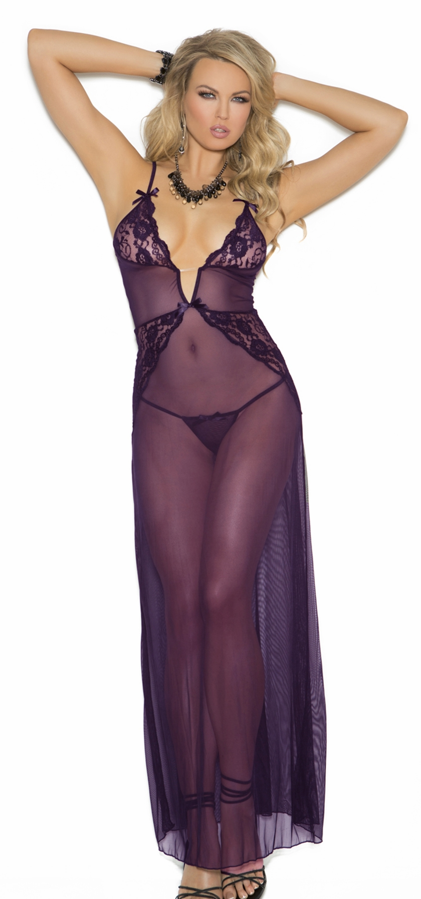 1961 Purple Deep V Mesh Gown with Lace by Elegant Moments