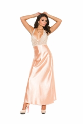 1969 Peach Lace and Charmeuse Halter Neck Gown