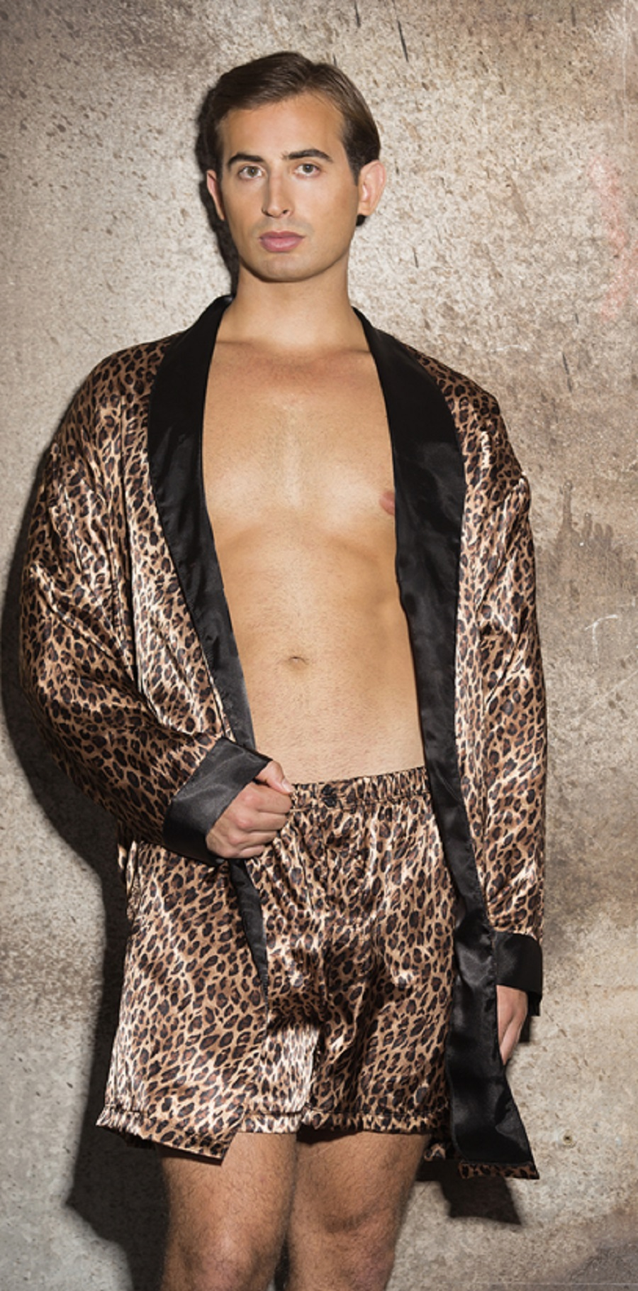 25485 Mens Leopard Print Charmeuse Robe by Gyz