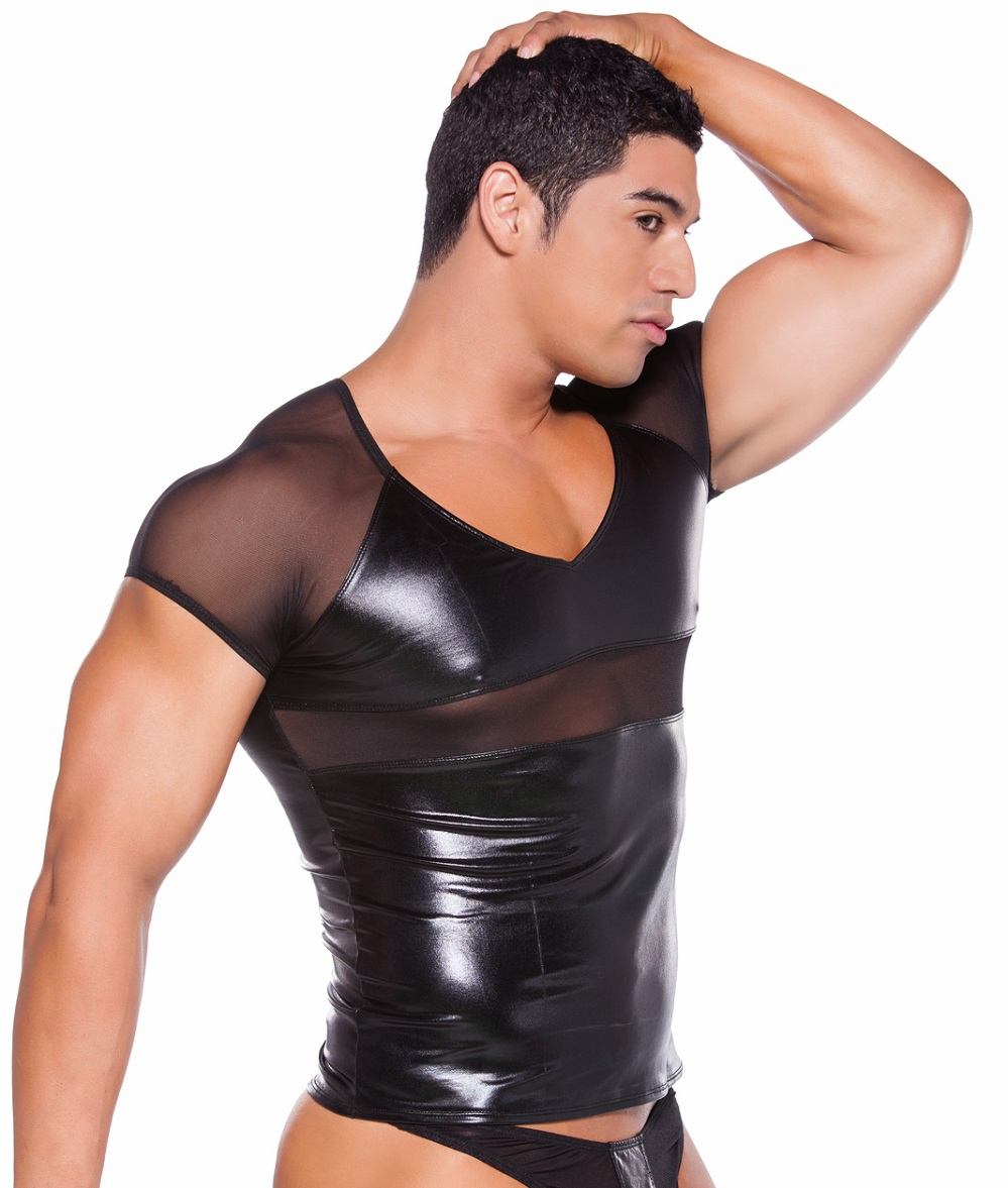 26-5602Z Mens Wet Look T-Shirt by Allure Lingerie