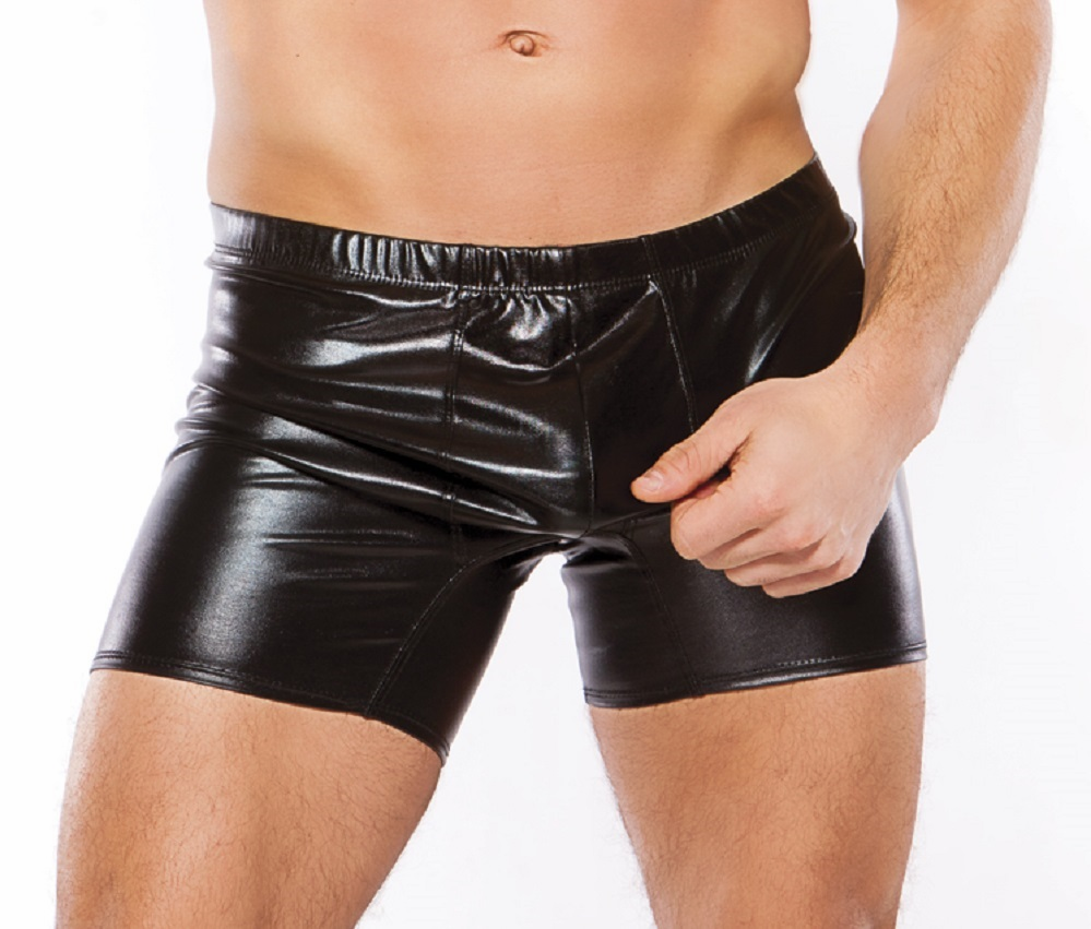 33-1072z Mens Wet Look Long Brief Shorts by Allure