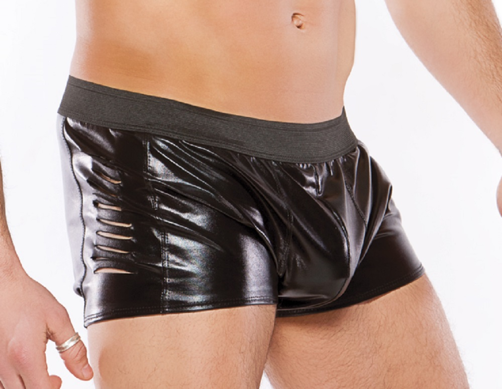 33-1082Z  Mens Wet Look Slashed Shorts by Allure