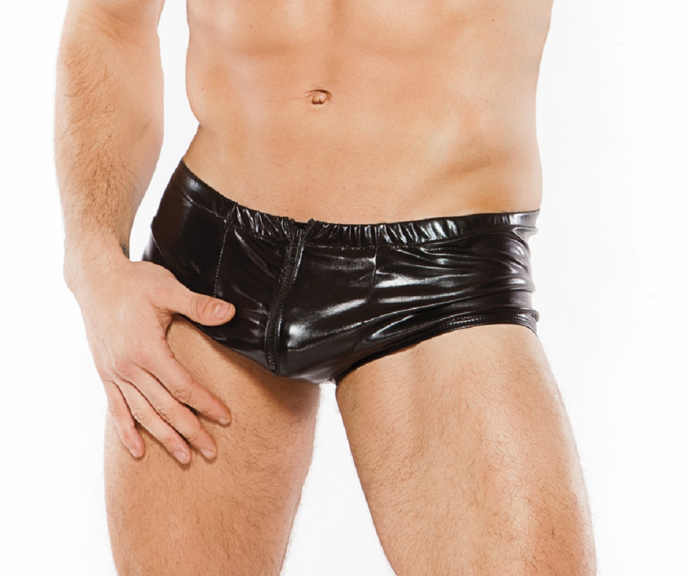 33-8032z Mens Wet Look Zipper Front Shorts by Allure