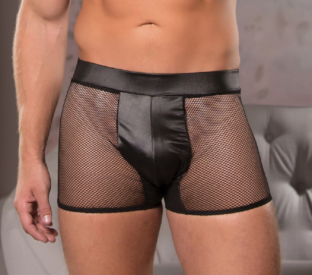 33-8602 Mens Sexy Wet Look Fishnet Shorts by Allure