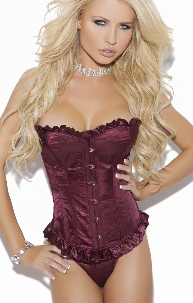 4014 Burgundy Satin Strapless Bustier With Ruffled Trim