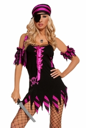 9523 4pc Black Sexy Ship Wrecked Wench Pirate Costume