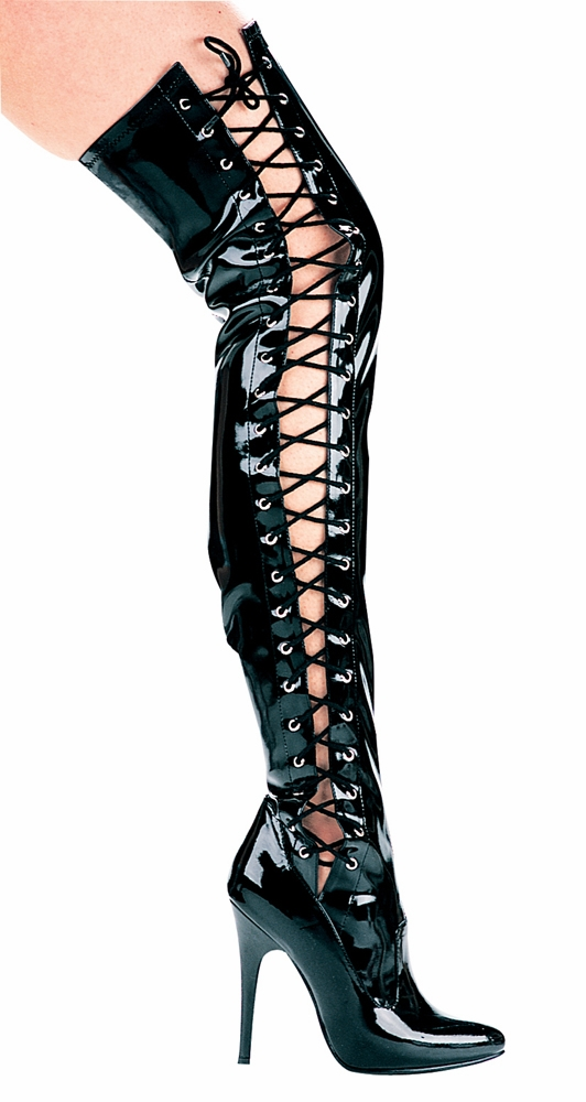 "511-Ferocious  5"" Heel Thigh High Stretch Boot W/Side Laces"