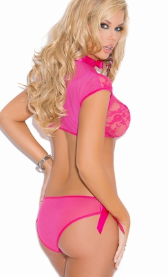 5395 Raspberry Lace and Mesh Cami and Panty Lingerie Set
