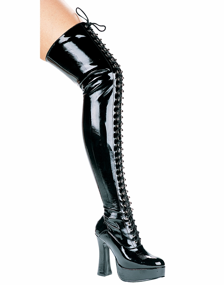"557-Olivia 5"" Heel Lace Up Thigh High Boot by Ellie"