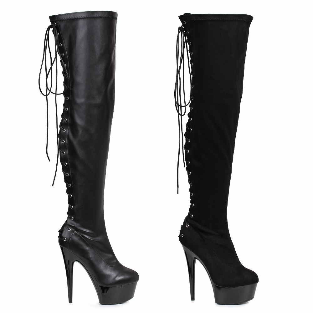 "609-Fare 6"" Stilleto Heel Platform Thigh High Boot with Lace Up Back"