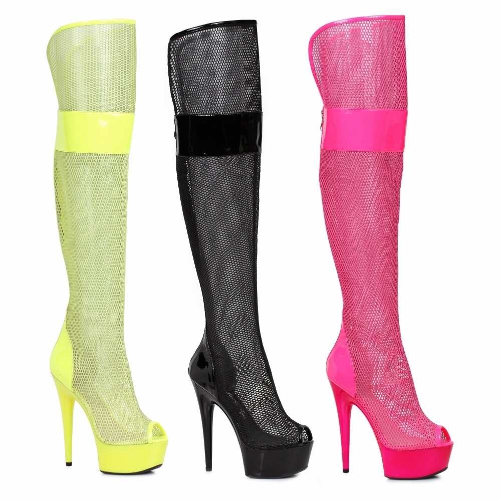 "609-Ivy 6"" Peep Toe Thigh High Mesh Boot by Ellie Shoes"