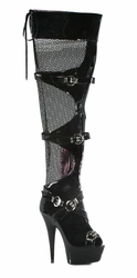 "609-Tasha 6"" Peep Toe Fishnet Thigh High Boot w/ Buckle by Ellie Shoes"