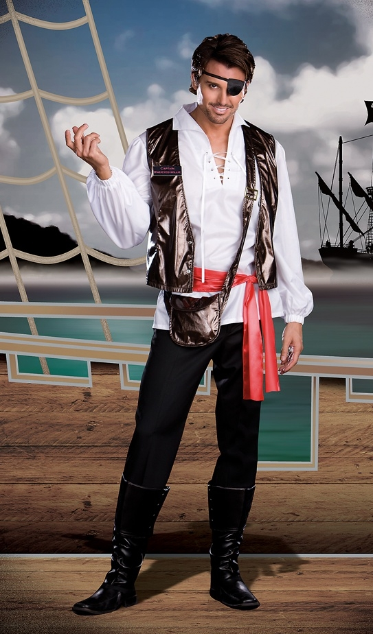 """6397- Mens Pirate Adult Costume """" Captain One-Eyed Willy"""""""