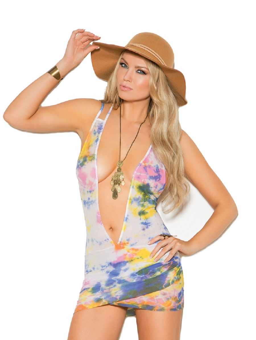 82020 Tie Dye Opaque Deep V Mini Dress OS