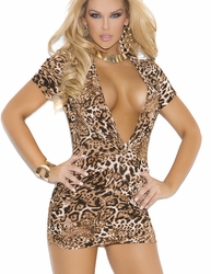 8292 Leopard Super Plunge Club Dress with Side Ruching