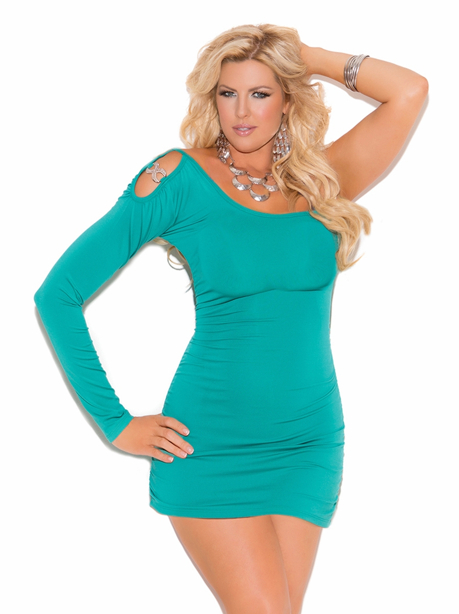 8293x Plus Size Jade One Shoulder Mini Dress with Ruched Sides by Elegant Moments