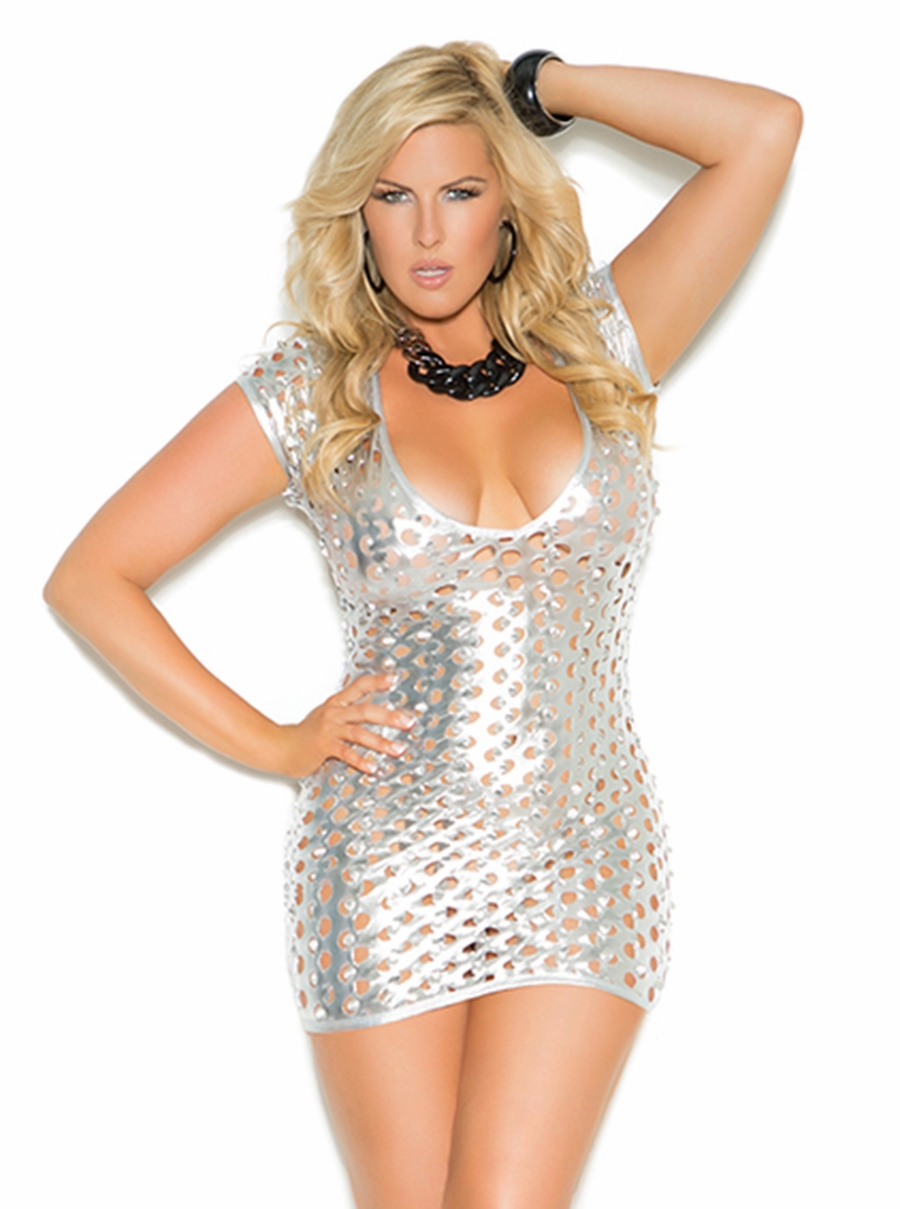8302x Plus Size Silver Lame Deep V Mini Dress with Cut Outs by Elegant Moments