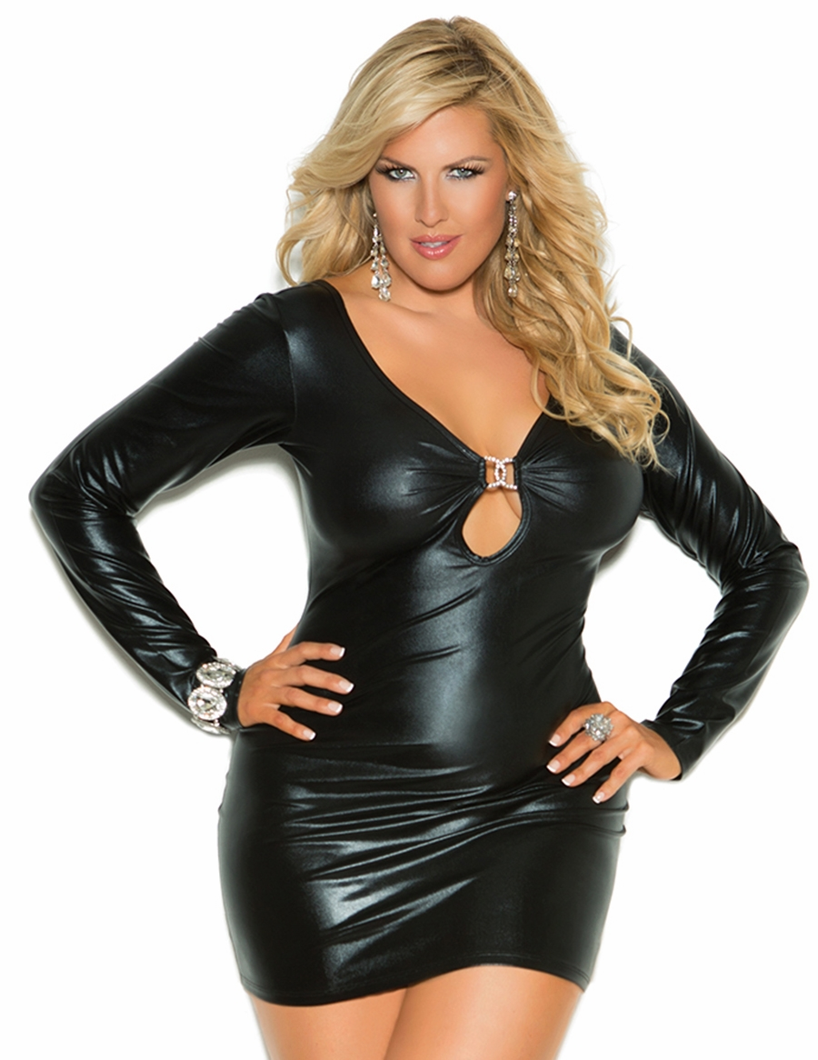 8309x Plus Size Black Wet Look Long Sleeve Mini Dress with Rhinestone Accents and Ruched Back by Elegant Moments
