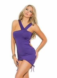 8337 Deep Purple Asymmetrical Mini Dress with Scrunch Sides and Ruching