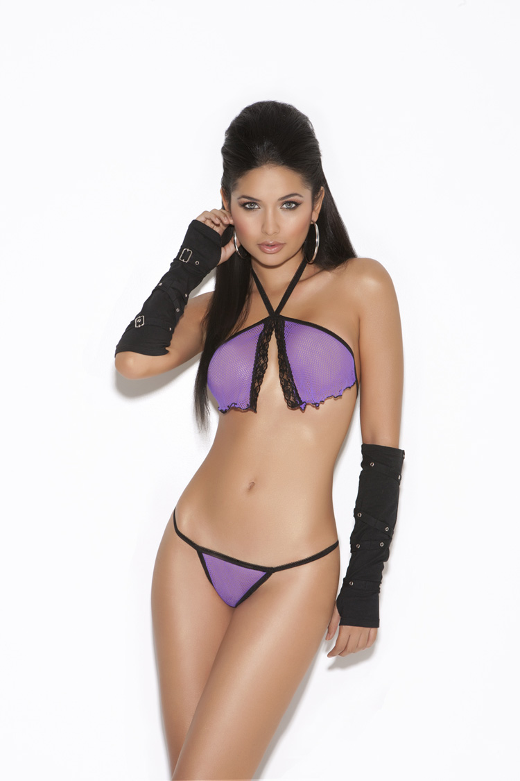 8580 Purple Fishnet Cami Top and G-string Lingerie Set