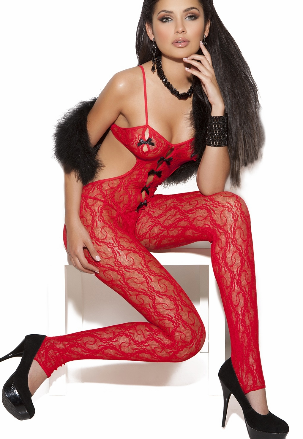 8703 Sexy Red Lace Bodystocking with Satin Bow OS by Elegant Moments