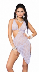 88037 Lilac Lace Asymmetrical Gown OS by Elegant Moments
