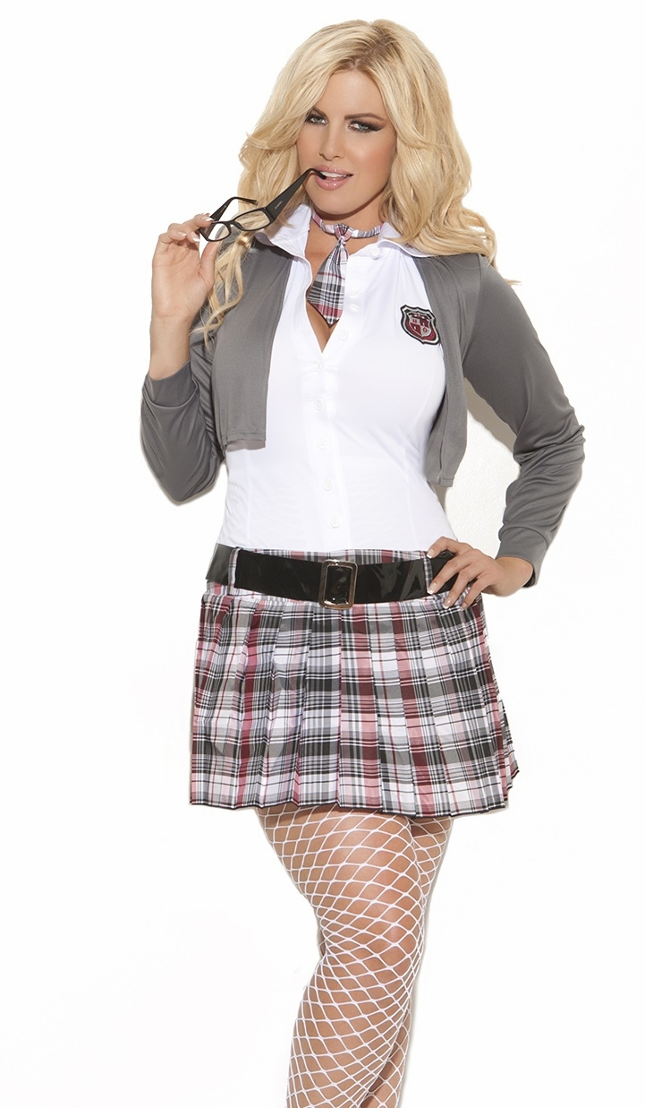 9153x Plus Size Sexy Queen of Detention - 3 pc. costume includes dress with attached jacket, belt and neck tie by Elegant Moments